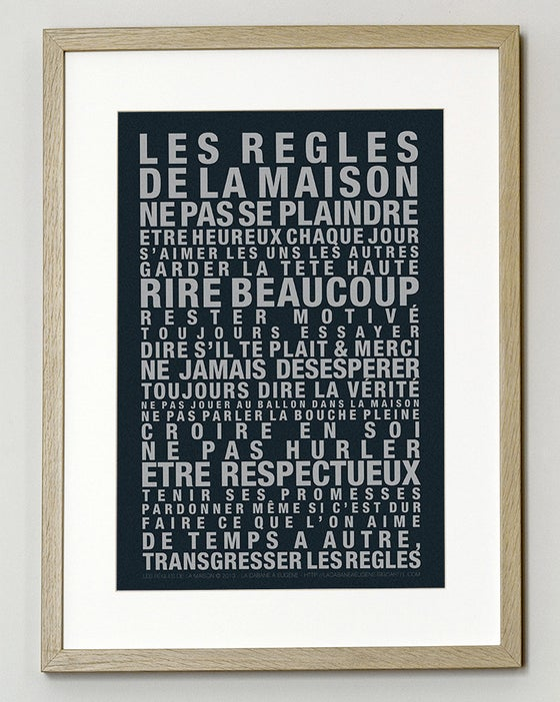 """Image of  Affiche """"Les Regles de la Maison"""" Grand format - Fond noir"""