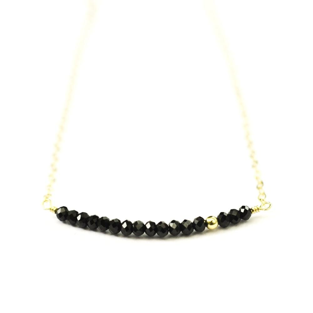 Image of Black spinel line necklace 14kt gold-filled