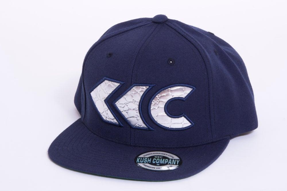 Image of Navy Blue Applique Snap Back 2