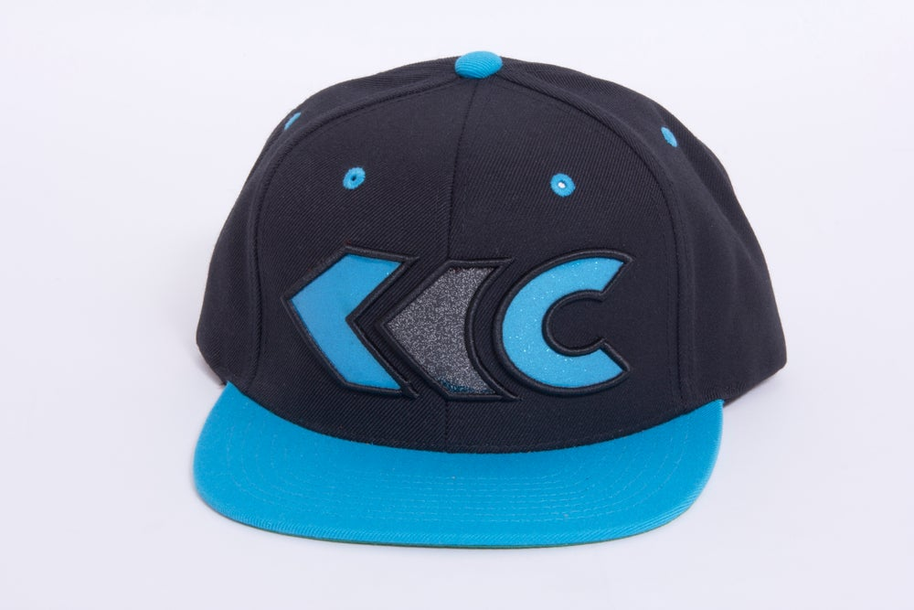 Image of Black/Teal Applique Snap Back 2