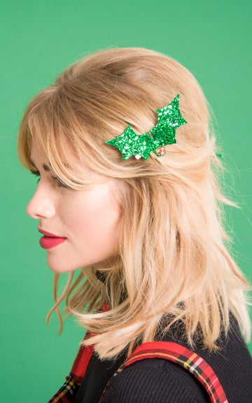 Image of Diamante Holly Glitter Hair Clips