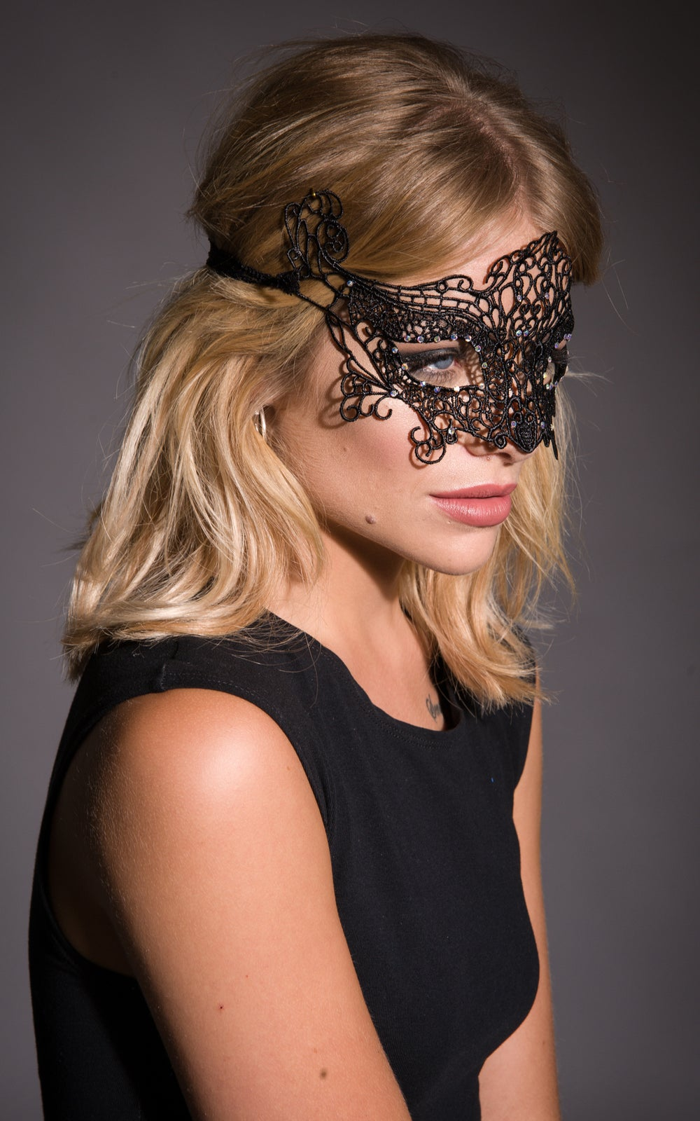 Image of Elvira Masquerade Mask in Black or White