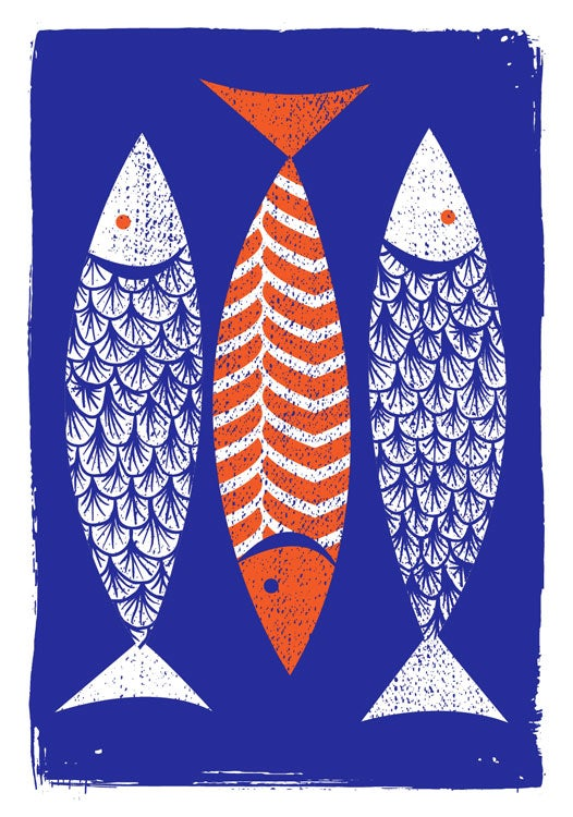 Image of 3 Fish Silkscreen Print