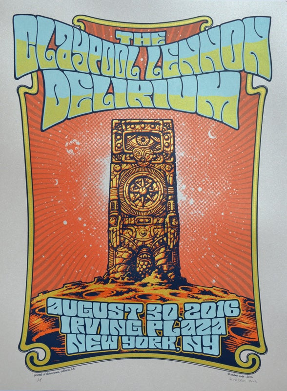 Image of THE CLAYPOOL LENNON DELIRIUM POSTER -NEW YORK, NY 2016 - SILVER VARIANT