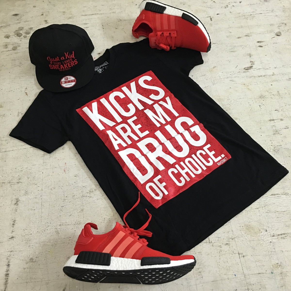 "Image of KICKS  ""CEMENT- RED/WHITE"" TSHIRT"
