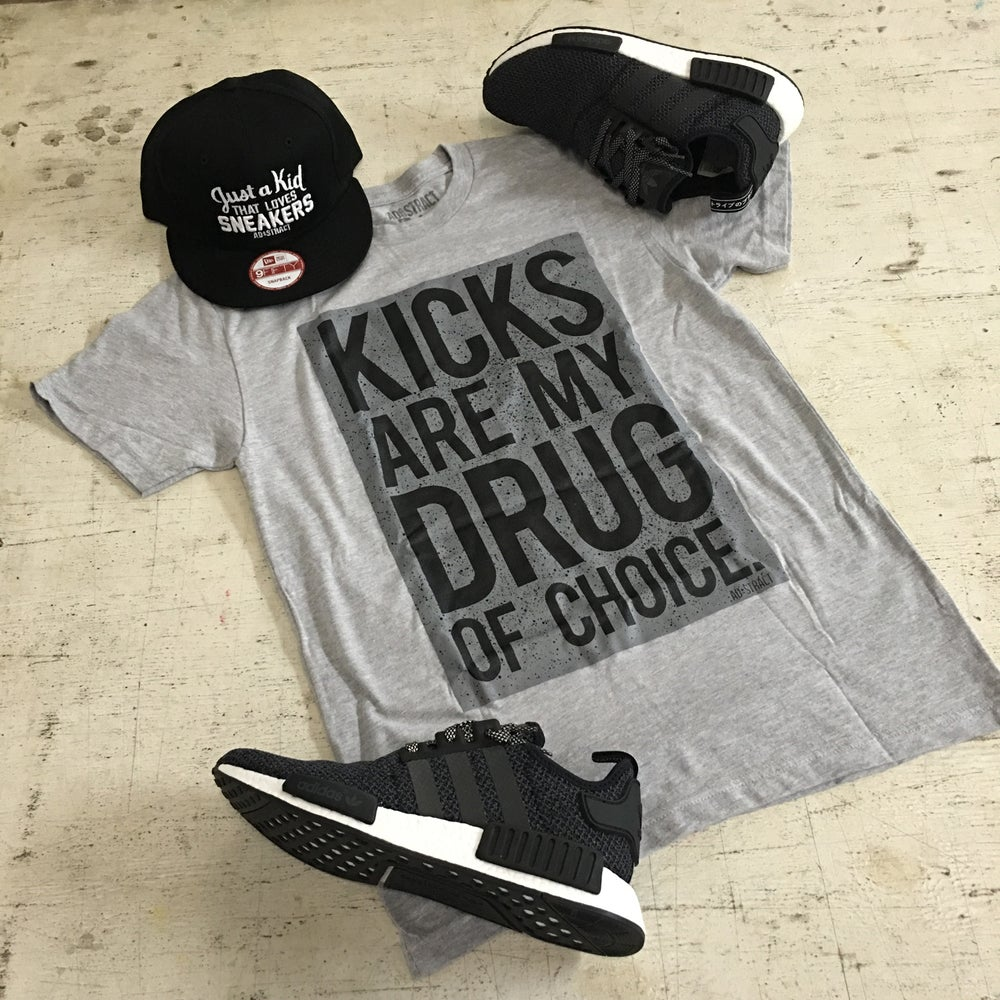 "Image of KICKS  ""CEMENT- GREY/BLACK"" TSHIRT"