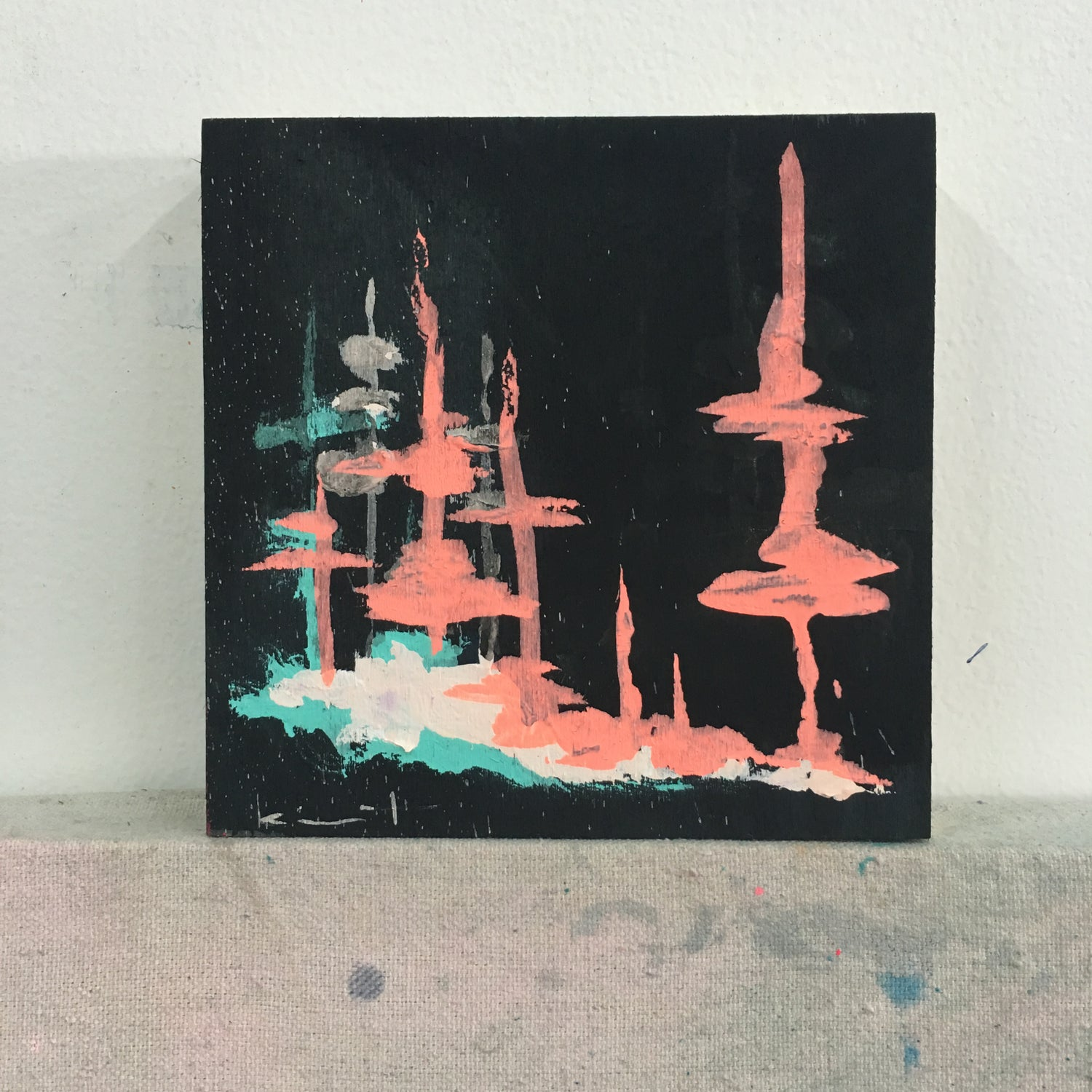 Image of tiny painting no. 45 (black, melon, gulf)