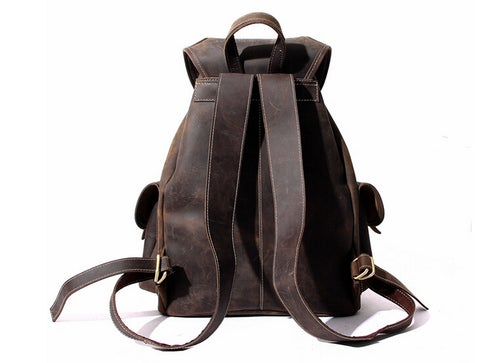Image of Large Size Vintage Leather Backpack Rucksack School Backpack 8891L