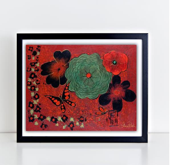 Image of Oriental Red Garden PRINT