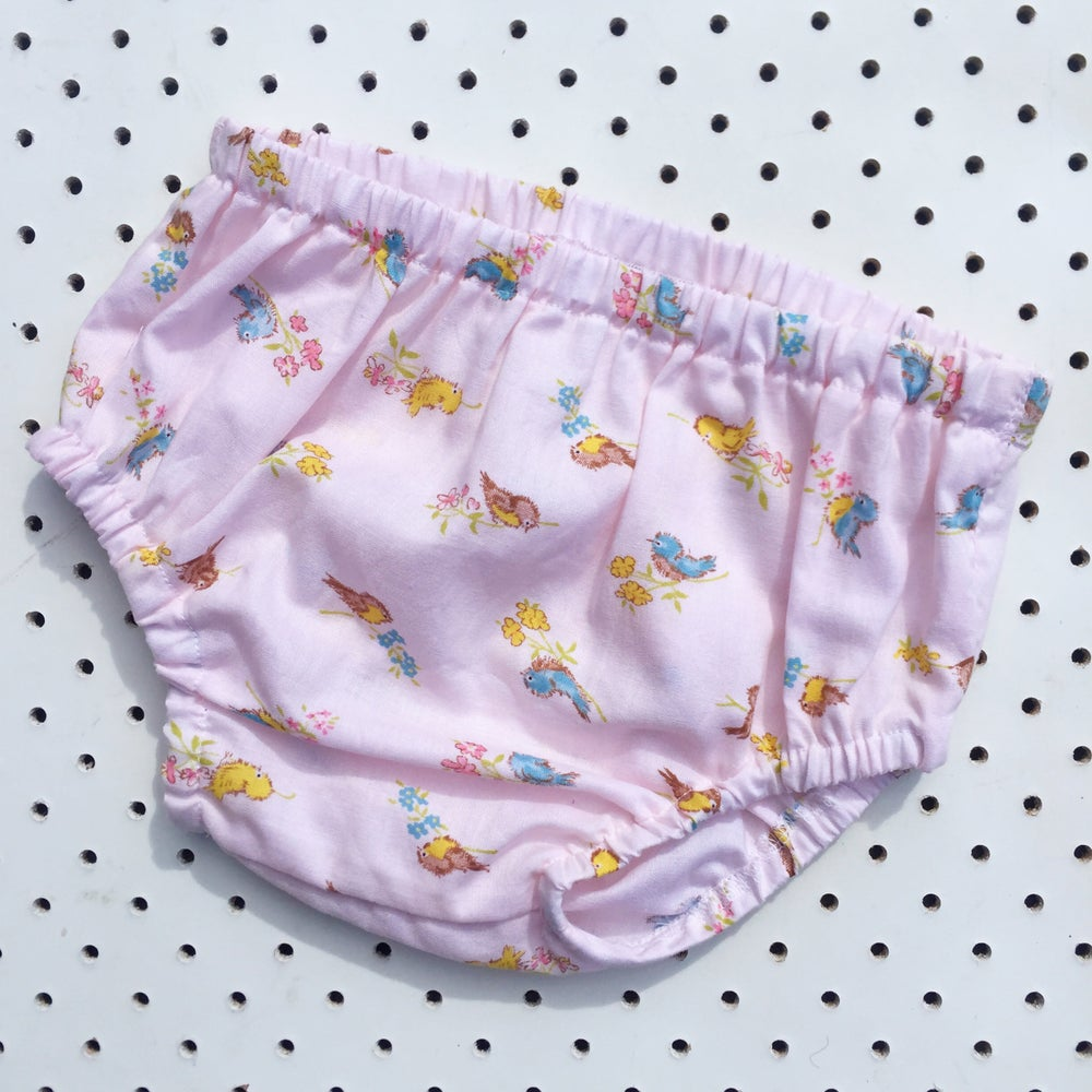 Image of Nappy cover - size 6-12mths - pink birds