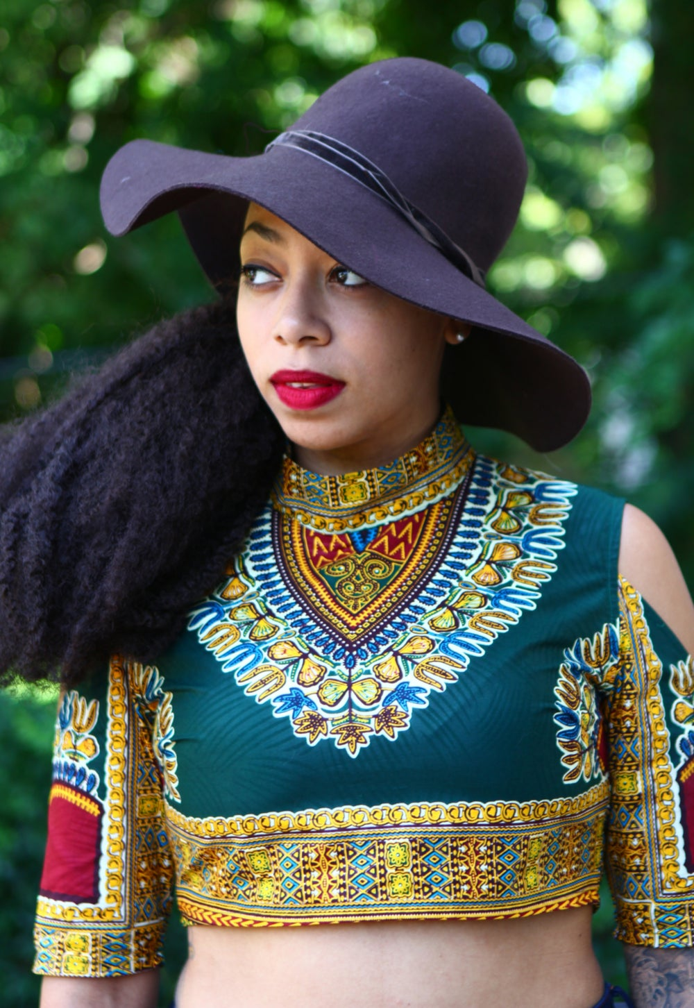 Image of Angelina Green Dashiki Mock Neck Crop Top - Ready to Ship