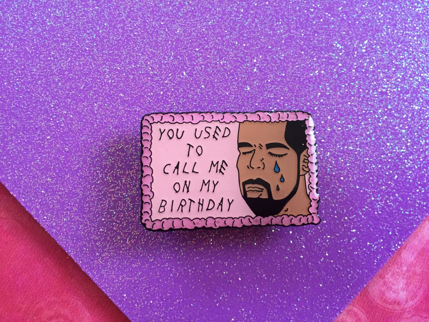 Image of Drake on Cake Epoxy Enamel Pin
