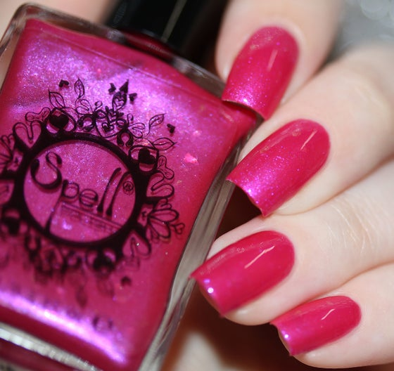Image of ~Pink on Our Backs~ hot magenta pink shimmer w/iridescent flakes nail polish!