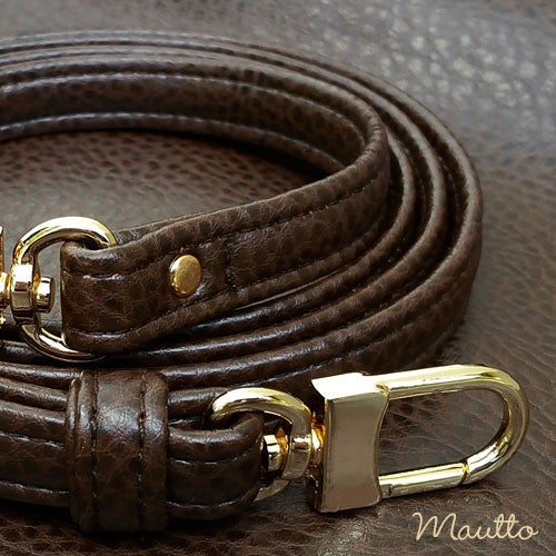 """Image of BROWN Premium Faux Leather Purse Strap - 1/2"""" Wide - Gold or Nickel #16LG Hooks - Choose Length"""