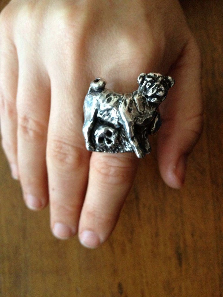 Image of The Love you till the end Pug & skull ring