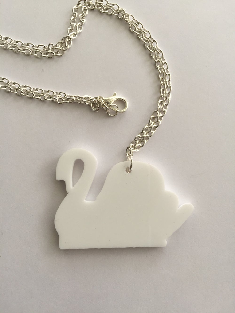Image of LIP -Laser cut, white perspex Swan necklace