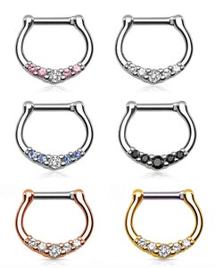 Image of Septum Clickers - Inset Jewelled Diamante CZ