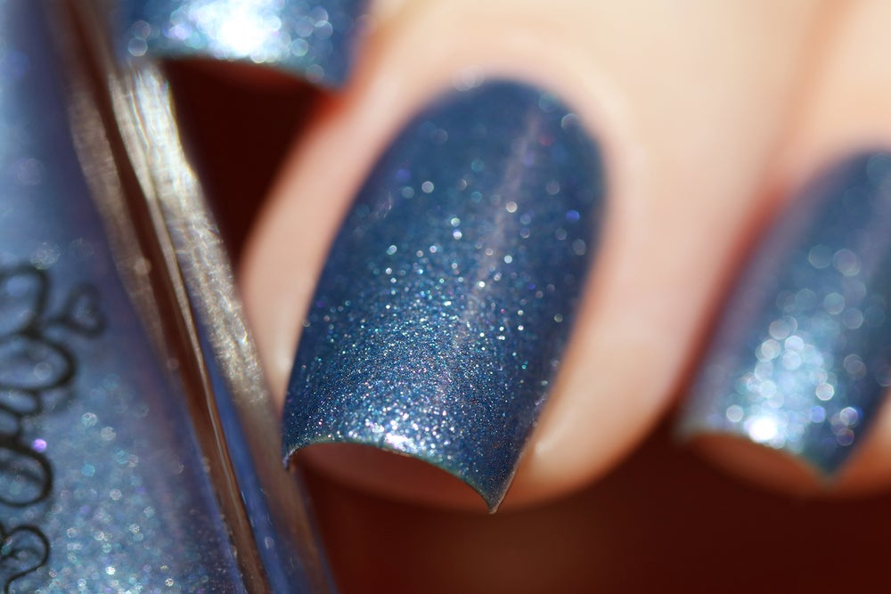 Image of ~Distant Ships~ periwinkle blue chrome w/tiny pink-violet microsparkles nail polish!