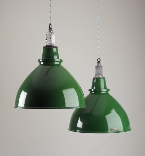 Image of Large Green Dunlop Aerospace Factory Lights by 'Thorlux'