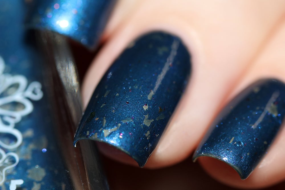 Image of ~Stars in Our Pockets~ navy blue chrome w/silver and multichrome flakes Spell nail polish!
