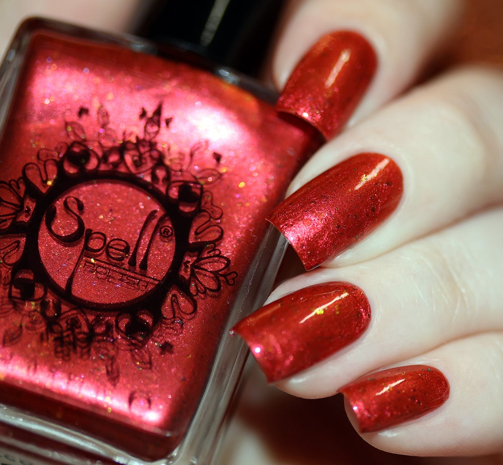 ~Second Heartbeat~ crimson/orange duochrome w/iridescent flakes nail polish!