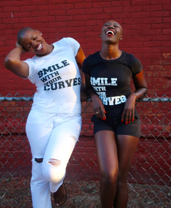 """Image of """"Smile With Your Curves"""" Black Tee"""