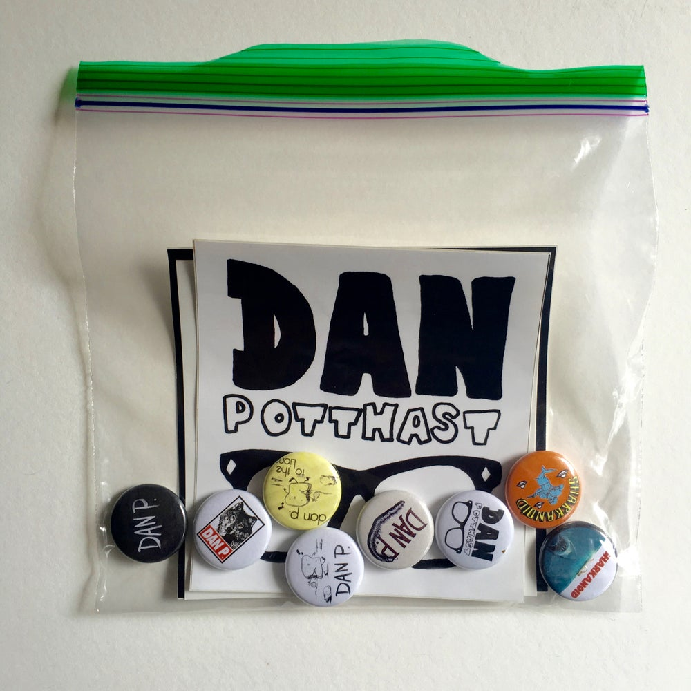 Image of Dan P. Button and Sticker Super Pac