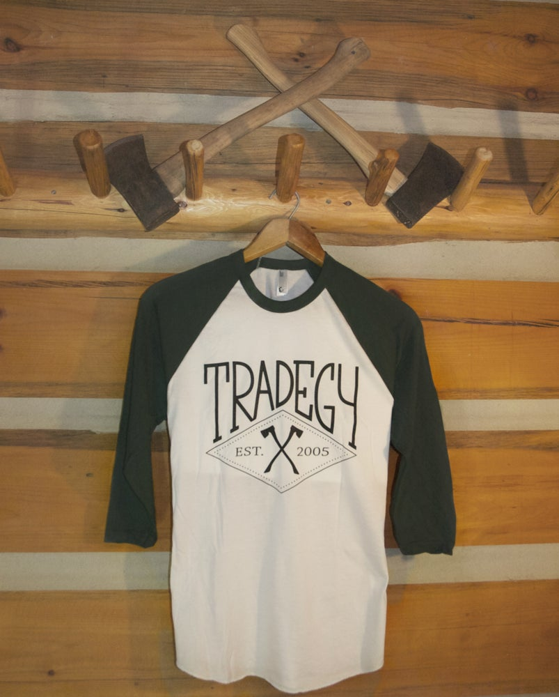 Image of Crested Baseball Tee - Forrest/White