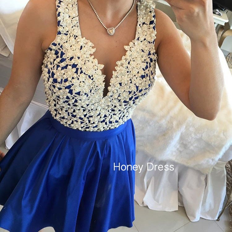 Image of Sexy V-Neck Ivory Lace Appliques Short Dress, Royal Blue Pearls Satin Cocktail Dress With Button