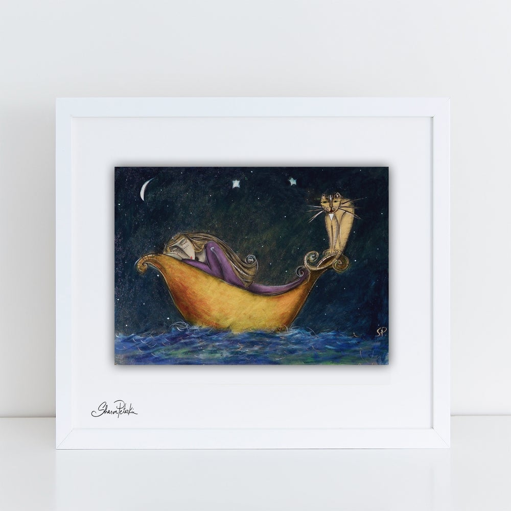 Image of Girl and Cat Sailing PRINT