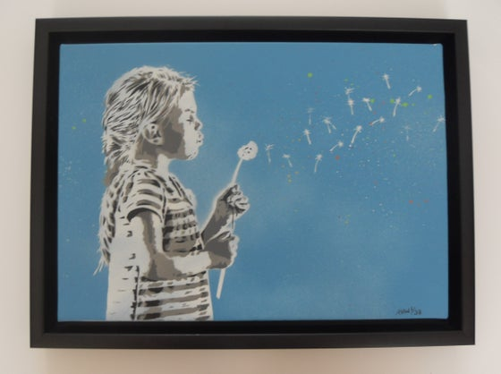 "Image of ALESSIO-B - ""BLOW"" FRAMED HAND SPRAYED/STENCILLED CANVAS EDITION OF 5 (BLUE)"