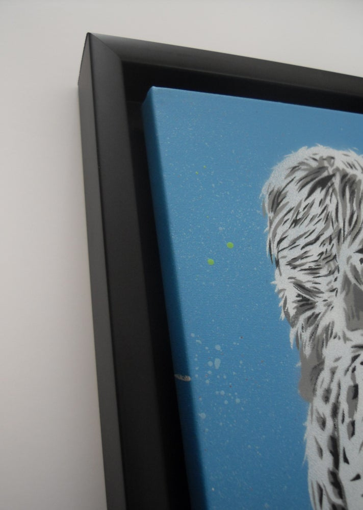 """Image of ALESSIO-B - """"BLOW"""" FRAMED HAND SPRAYED/STENCILLED CANVAS EDITION OF 5 (BLUE)"""