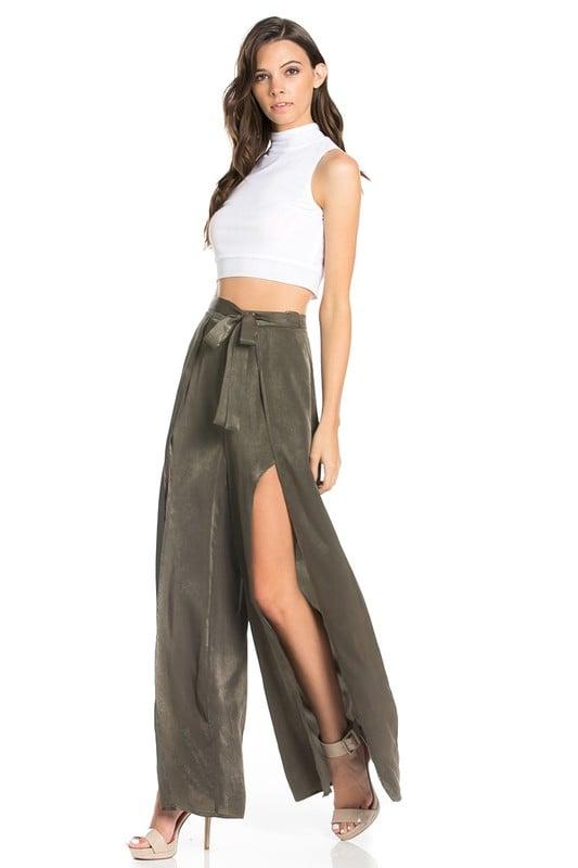 Image of Olive Green Slit Pants