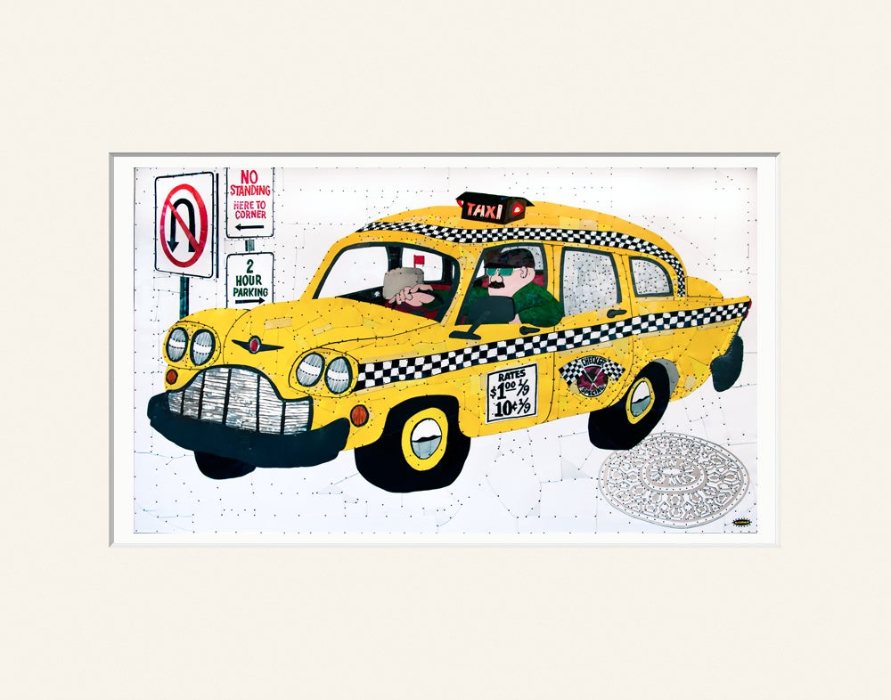 "Image of Taxi - 11""x 14"" High Quality Matted Digital Print"