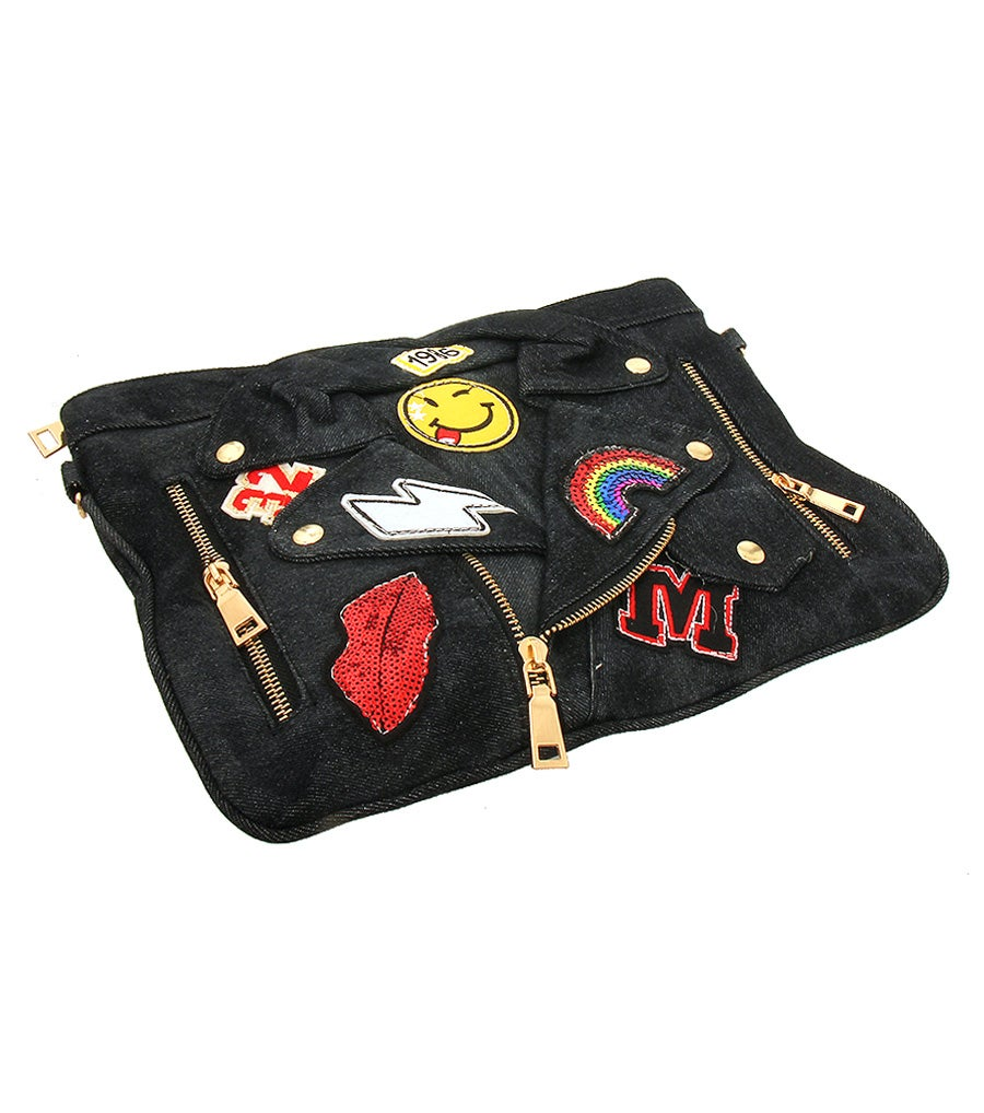 Image of Motorcycle Jacket Patch Clutch Handbag