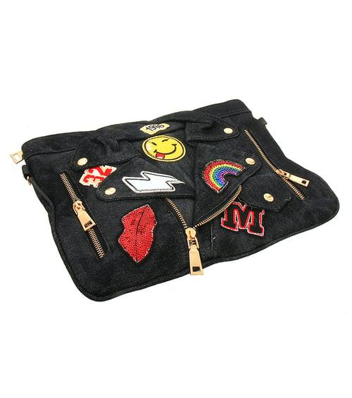 Image of Motorcycle Jacket Patch Clutch Handbag