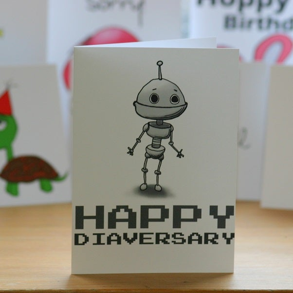Image of Happy Diaversary Robot (approx $5.40)