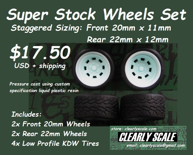Image of Super Stock (Staggered) Wheels + KDW Tires Set