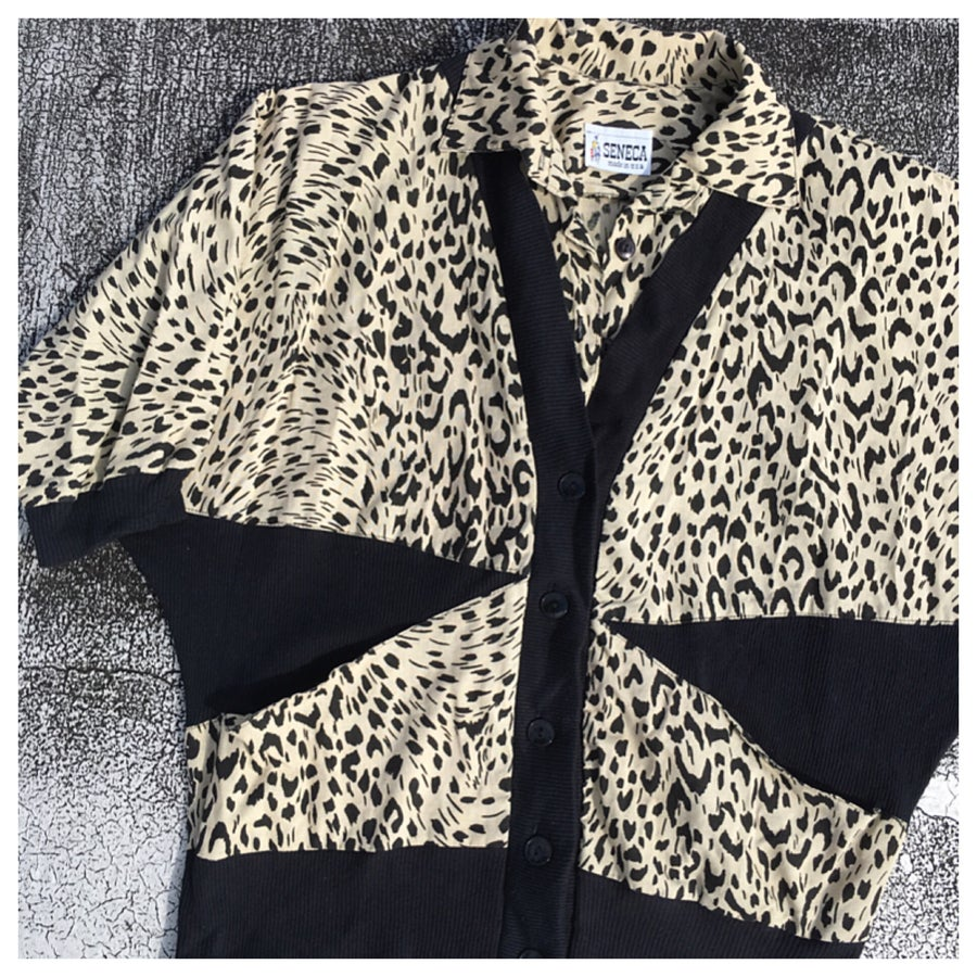 Image of 80s Color Block Animal Print Dolman Sleeve Sweatshirt
