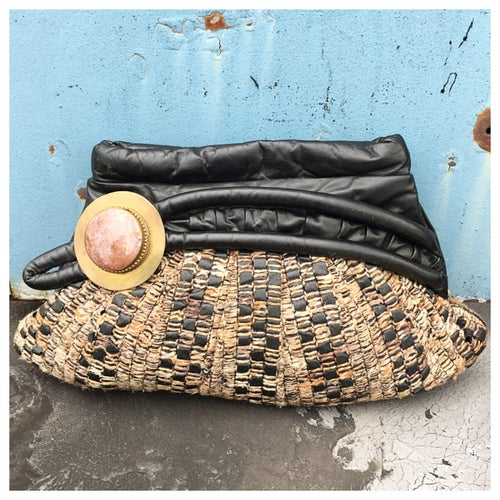 Image of Unique Vintage Boho Textile & Leather Clutch