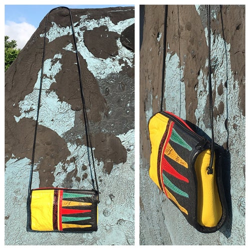 Image of Colorful Vintage Snakeskin+Leather Patchwork Crossbody