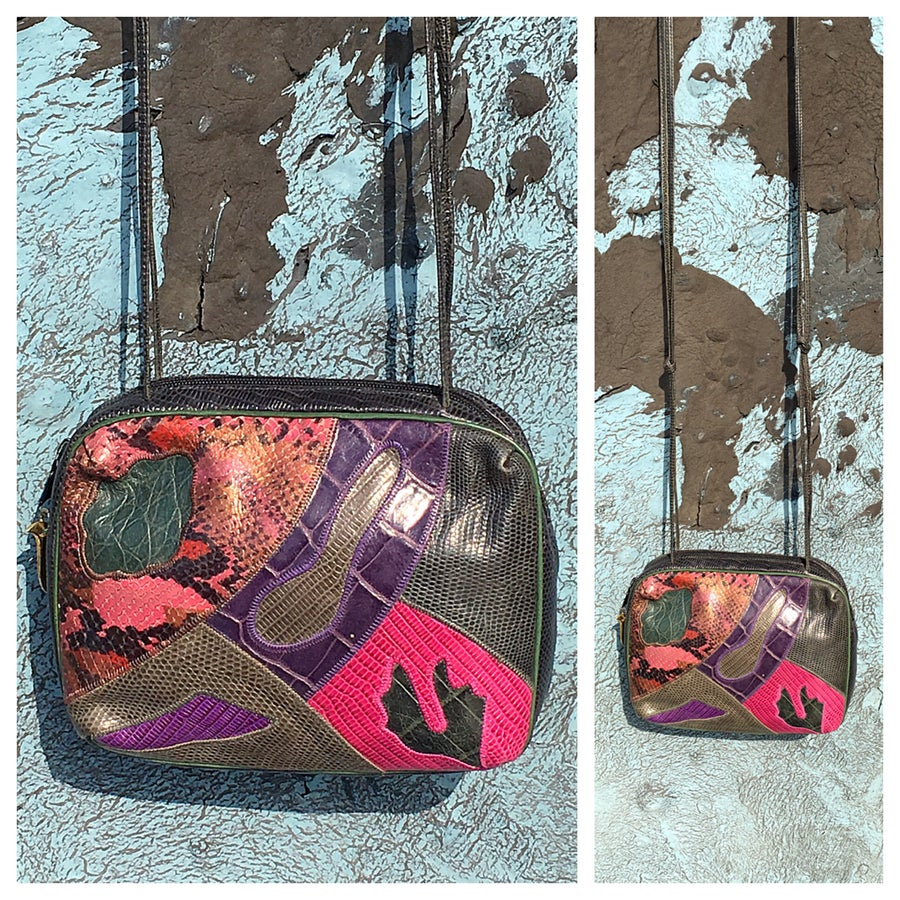 Image of Multi color Vintage Exotic Skins 80s Shoulder bag
