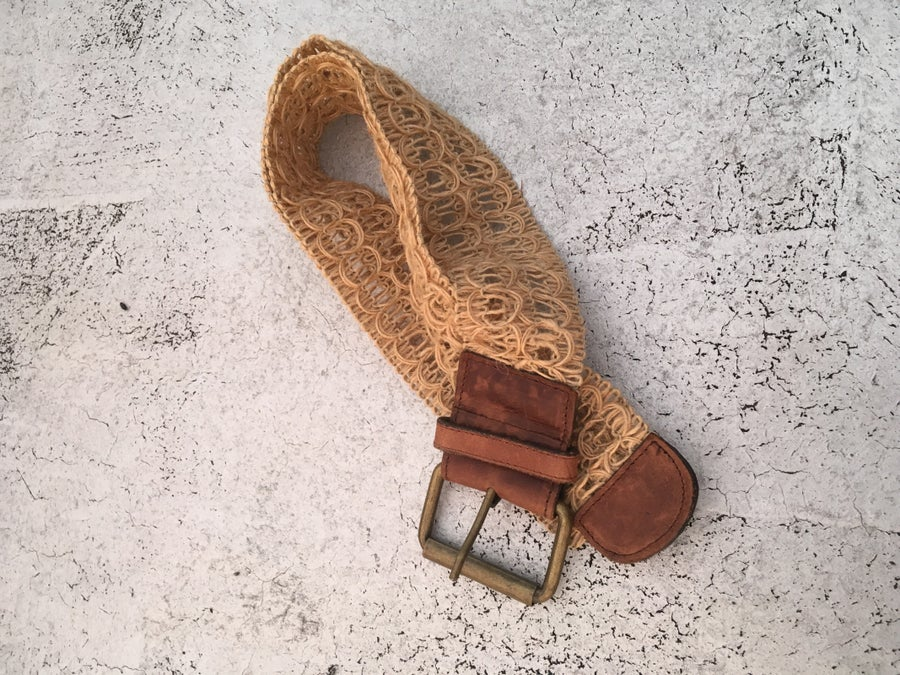 Image of Straw & Leather Vintage Belt
