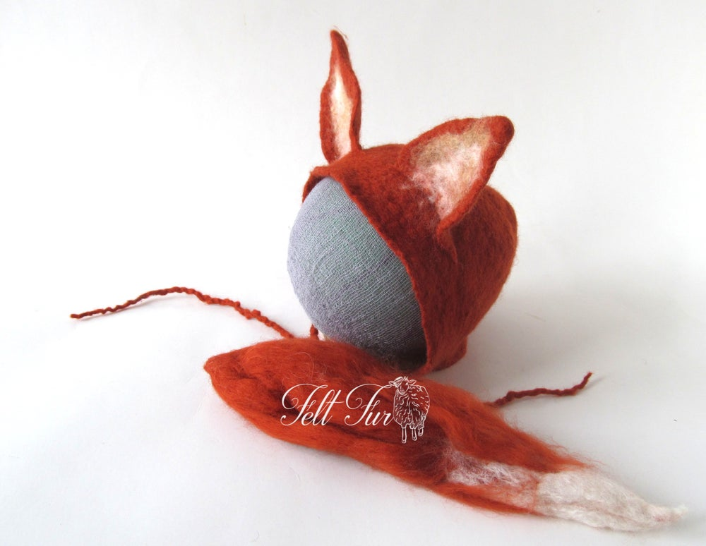 Image of Felted Newborn Hat Photoprops hat Baby Hat Infant felted hat baby Fox Newborn Girl Hat Boy hat