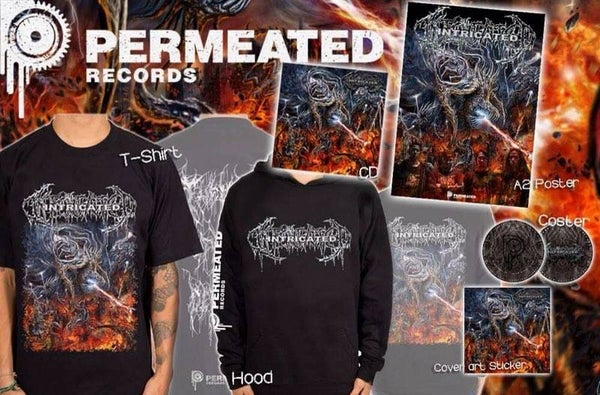 Image of Intricated - Vortex Of Fatal Depravity CD + T-Shirt + Hoodie + Poster + Coster Combo preorder