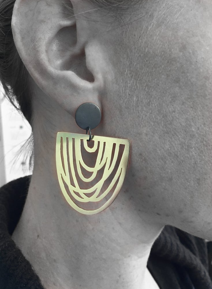 Image of Helen Black & Brass Earrings