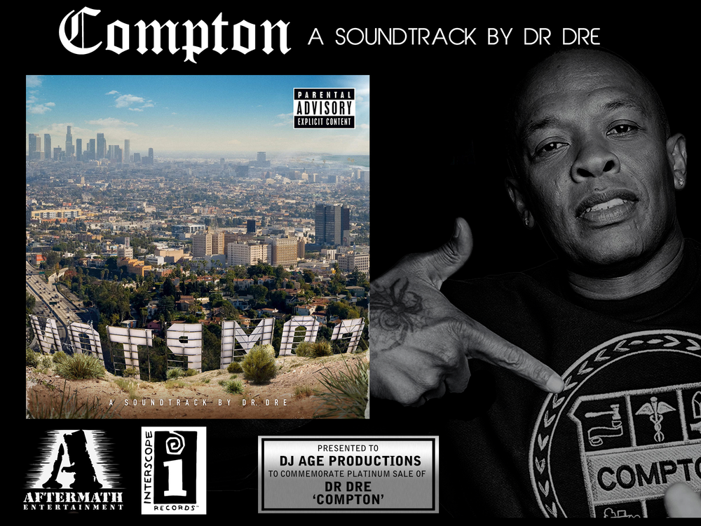 Image of Dr Dre 'Compton' Record Plaque