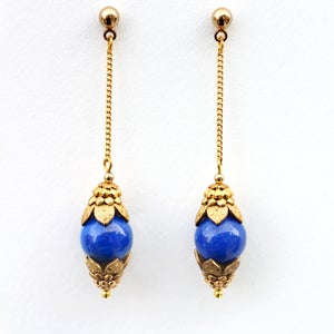 Image of Gold Chain Earrings, Lapis Lazuli Earrings, Blue Dangle Earrings, Ornate Drop Earrings
