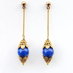 Image of Gold Chain Earrings, Lapis Lazuli Earrings, Blue Dangle Earrings, Ornate Drop Earrings