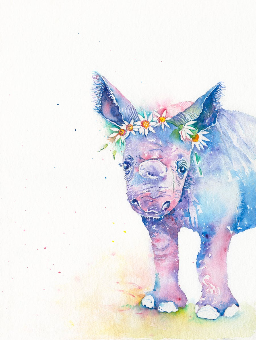 Image of Bella, the baby Rhino, FREE SHIPPING